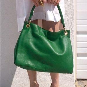 NWOT DKNY Green PEBBLEd leather handbag